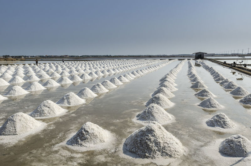 A pile of sea salt in the salt field at petchaburi, thailand