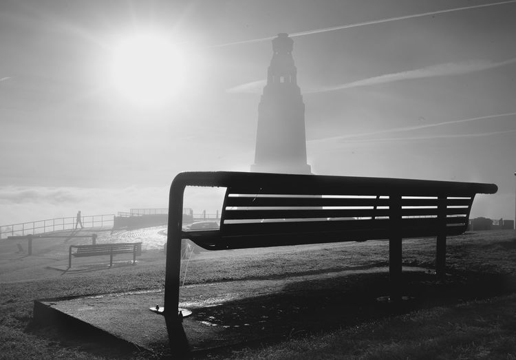 Dundee Law Bench Fog Monument Blackandwhite Monochrome Photography Sonya7rii