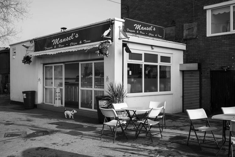 Chip Shop Porthcawl South Wales Takeaway Food Architecture Blackandwhite Building Exterior Built Structure Cafe Chair Chippy Chips Day Monochrome No People Outdoors Street Photography Table
