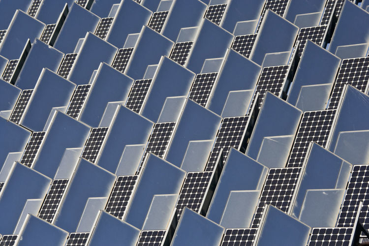 Abstract Architecture Backgrounds Blue Built Structure City Close-up Day Design Detail Development Full Frame Low Angle View Modern No People Outdoors Repetition Sky Solar Panel Solar Panels Tall - High