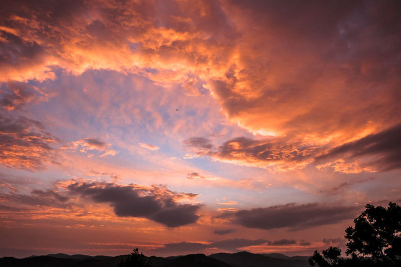 Low Angle View Of Cloudy Sky During Sunset