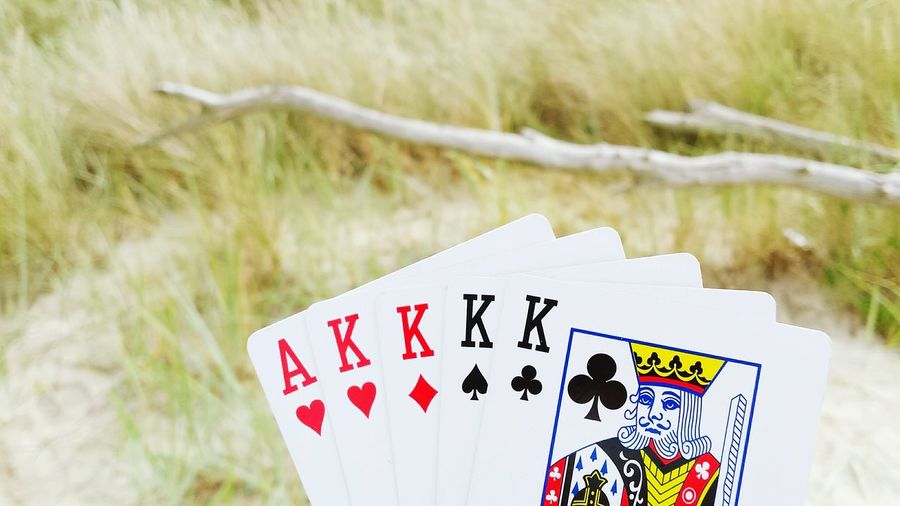 Cards Play Playing Cards At The Sea Playing Cards At The Beach Playing Cards Poker Cards Romantic Landscape Sand Beautiful Nature Nature Wood Grass Baltic Sea Focus Object