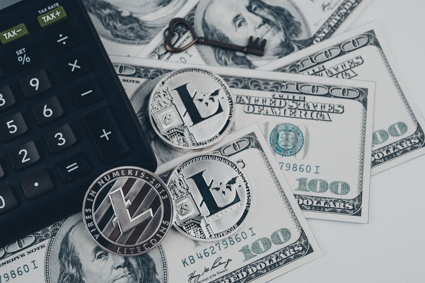 Money Money Money Bitcoin Coin Litecoin Litecoin Wallet Money Money Saving Concept Savings