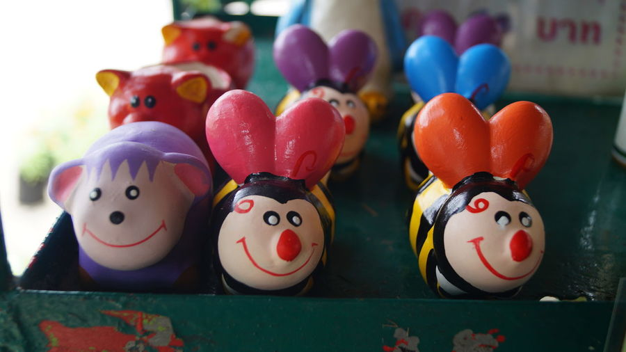 Close-up of multi colored figurines