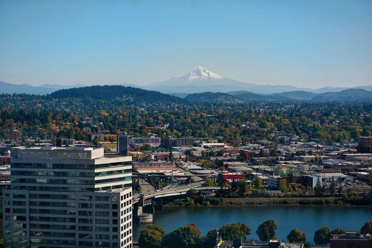 Portland, OR Cityscape Scenics Mountain City Outdoors Building Exterior No People Lost In The Landscape Oregon Blue Landscape Architecture Sky Travel Destinations Mountain Range EyeEmNewHere