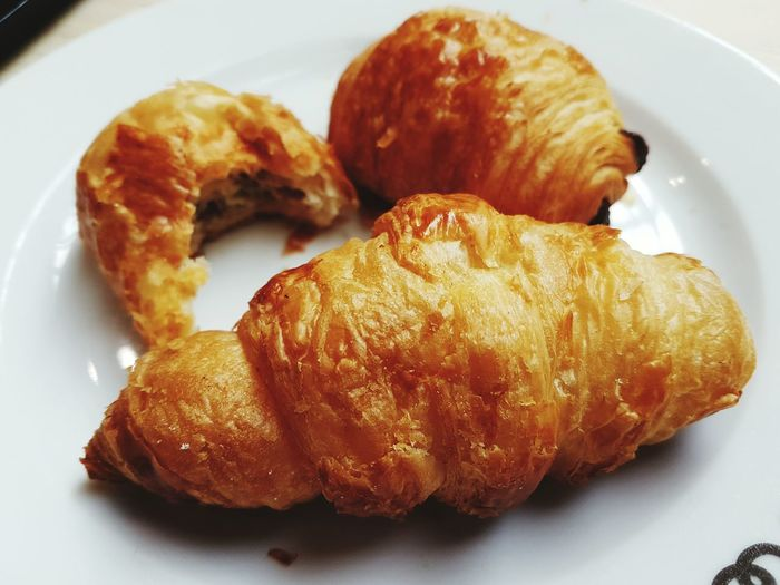 Close-up of croissant on plate