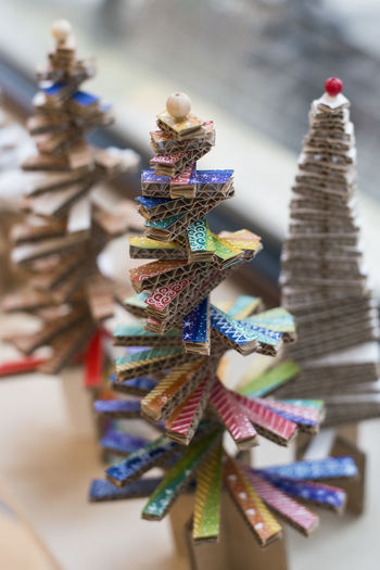 Making little Christmas tree of cardboard Artisty Colourful Creativity DIY Kindergarden Workshop Art Cardboard Cristmas Tree Ecological Making