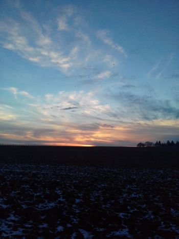 Sky Nature Sunset Landscape Beauty In Nature Cloud - Sky Scenics No People Agriculture Land Rural Scene Winter Sky Winter Dusk