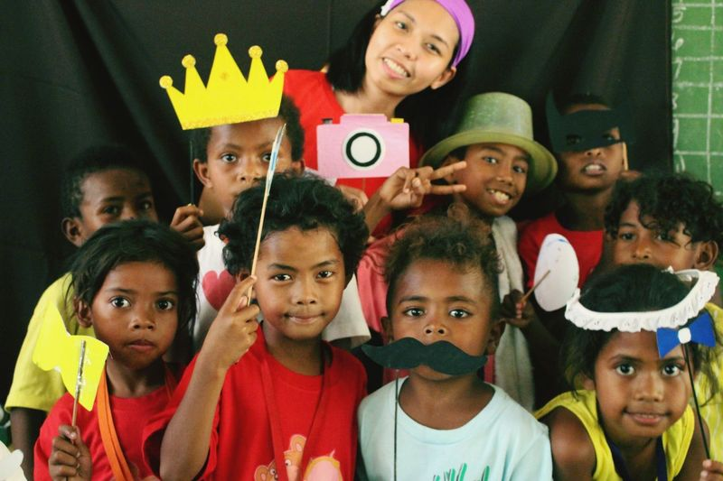out reach program with the Aetas at Haduan Elementary School Pampanga Philippines Childrens Happykids Outreachprogram Aetas Smiles Happiness Givebackphilippines Joy Looking At Camera Portrait Headshot Mature Adult Clown Indoors  People