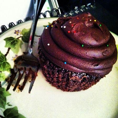 Nom nom nom ? ????? Birthday Cupcake May 19th  chocolate sprinkles