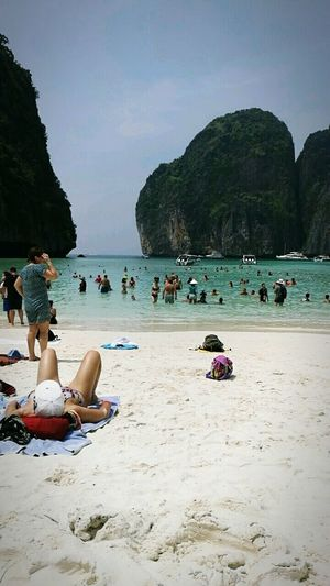 Beach Sand Water Relaxation Phi Phi Island @phuket Nature Rock - Object Sea Sitting Vacations Adult Summer Day Beauty In Nature People Outdoors Large Group Of People Mountain Only Women Adults Only Tree
