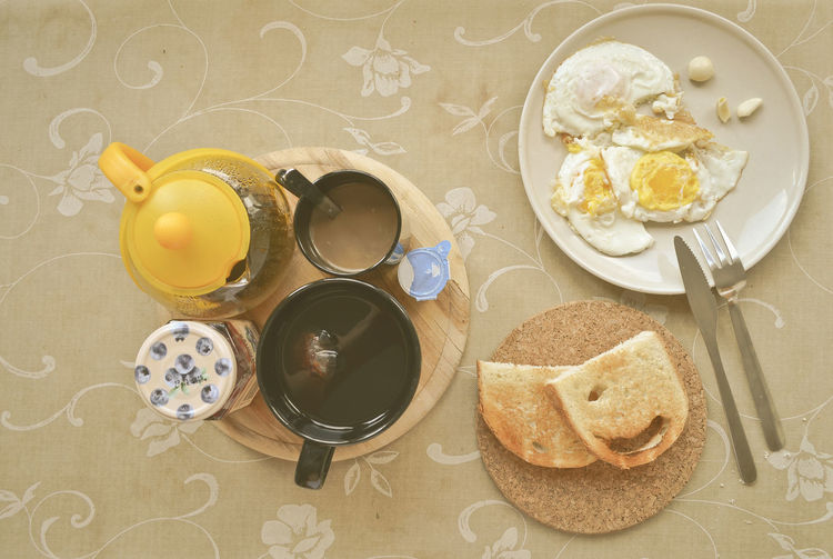 Fried Egg Egg Breakfeast Coffee Coffecup Tea TeaCup Table High Angle View Variation Close-up Served Tablecloth Ready-to-eat Still Life