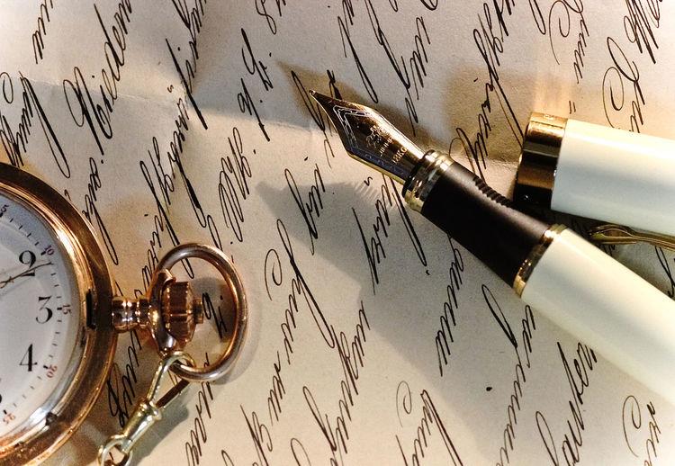 Pen Fountain Pen Antique Paper Still Life Handwriting  Retro Styled Pocket Watch