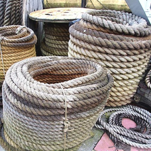 Spiral ropes on dockyard