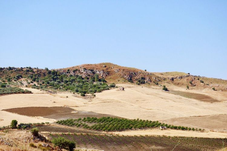 Clear Sky Landscape Tranquil Scene Tranquility No People Nature Blue Arid Climate Outdoors Day Desert Scenics Beauty In Nature Sky Sicily, Italy