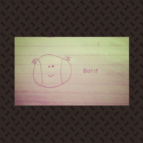 Puns Activity Cute Adorable Drawing Schoolworks This is my bestfriend's work. Hahaha!! I really find it adorable:) Bald Ball