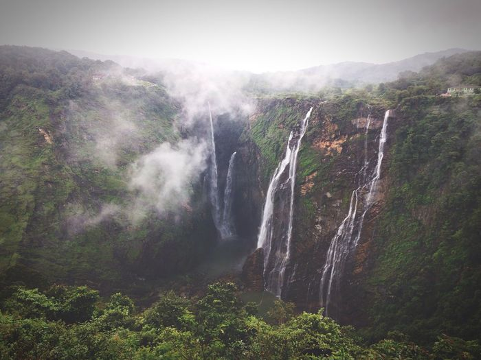 Miles Away Waterfall Nature Scenics Beauty In Nature Fog Rock - Object No People Water Outdoors Landscape Day Mountain Sky Freshness Jog Falls IPhoneography Long Goodbye