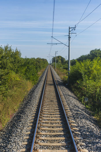 Railroad Tracks Against Clear Sky