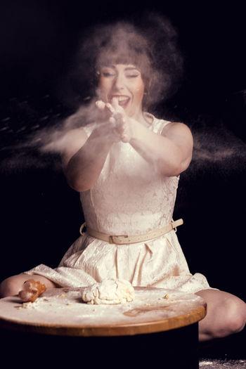 Baking Baking Fun Belt  Black Hair Dough Dress Flour Full Frame Girl Laughing Smiling Studio Photography