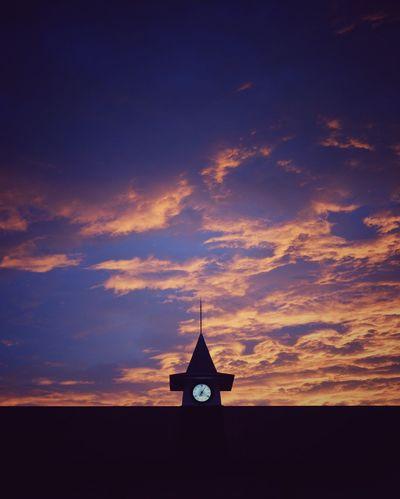 Sunset Clock Tower Sky And Clouds Kamakura Station Japan