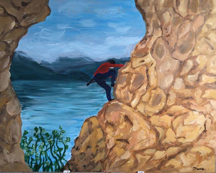 The Climb Artist ArtWork MyArt Myartwork Sky Collection Landscape EyeEm Nature Lover Painting Sea And Sky Acrylic