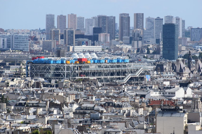 Centre Pompidou as seen from Mont Martre Architecture Building Building Exterior Built Structure Centre Pompidou City Cityscape Crowded Day High Angle View Industry Landscape Nature Office Building Exterior Outdoors Residential District Sky Skyscraper Urban Skyline