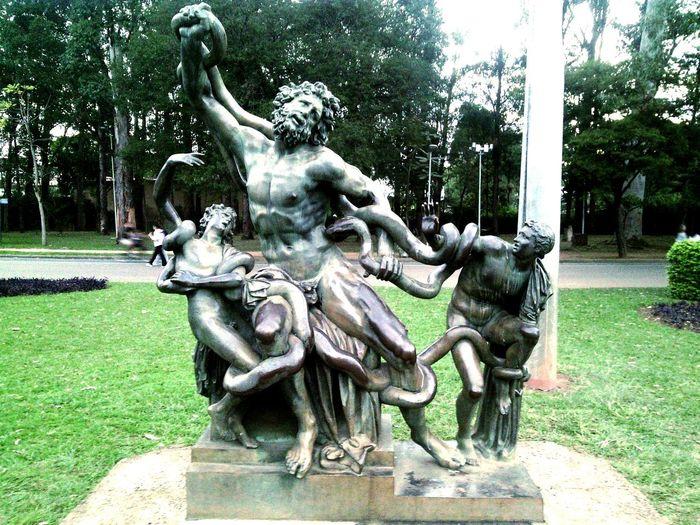 Sao Paulo - Brazil Statue Statues And Monuments Statue Of Neptune Neptune Statue Reflection Park Ibirapuera Ibirapuera