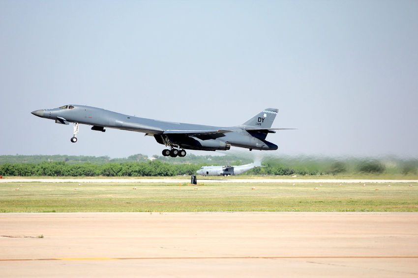 B-1B Take-off Air Force Air Vehicle Airplane Airport Runway Airshow B-1 Bomber Bomber Military Police Outdoors TakeOff Texas
