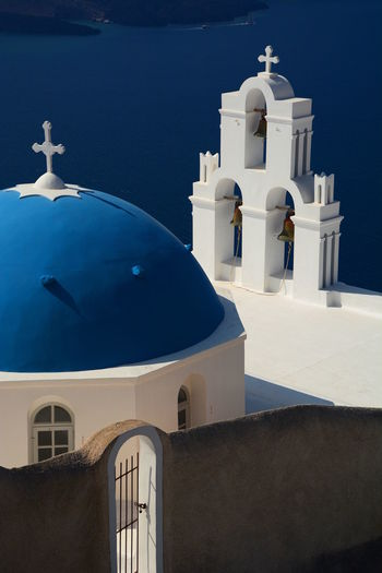 Agios Theodori. Firostefani, Santorini Aegean Sea Agios Theodori Belltower Blue & White Caldera Catholic Church Cyclades Dome Europe Firostefani Greece Greek Imerovigli Santorini Santorini Island Santorini, Greece Sea Summer Tourism Greece Travel Travel Photography White & Blue
