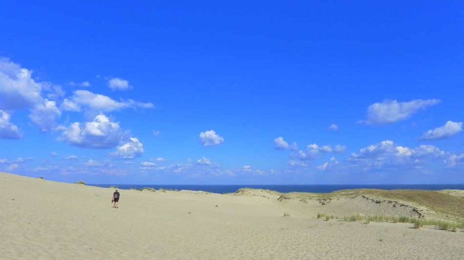 Adult Adults Only Beach Beauty In Nature Blue Cloud - Sky Curonian Spit Day Full Length Landscape Nature One Person Outdoors People Real People Sand Scenics Sea Sky Tranquil Scene Tranquility Water