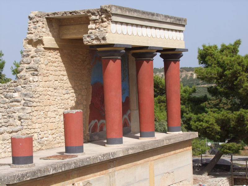 Reconstruction Ancient Antiquity Architectural Column Architecture Blue Sky Building Exterior Built Structure Columns Composition Cultures Full Frame Greece History Knossos Knossos Palace Low Angle View No People Old Place Of Worship Reconstruction Red Columns Sunlight And Shadow Tees Temple Temple - Building