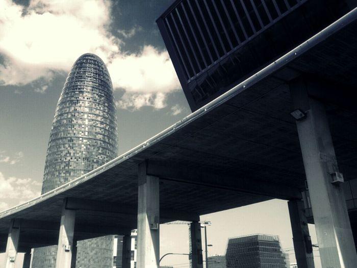 Skyline Blackandwhite Barcelona Road Tower Urban Landscape Arquitectura Barcelona Torre Agbar Bulding