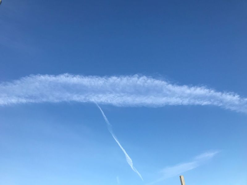 Vapor Trail Contrail Blue Sky Low Angle View Airplane Day Nature Transportation No People Beauty In Nature Airshow Outdoors Scenics Flying