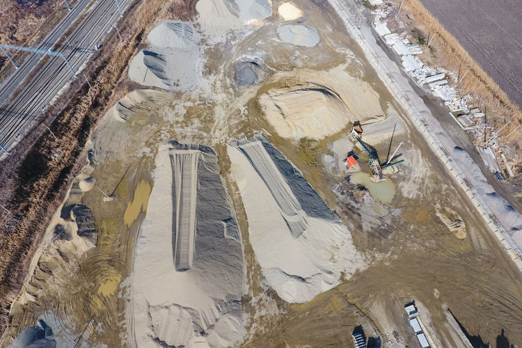 High angle view of construction site in city during winter