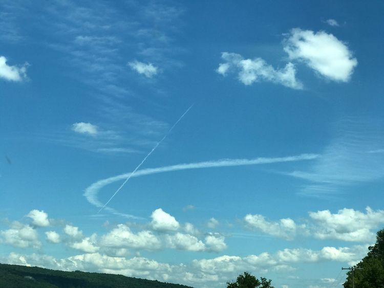 Scenic, natures wonders, plane trail, clouds, traveling Sky Nature