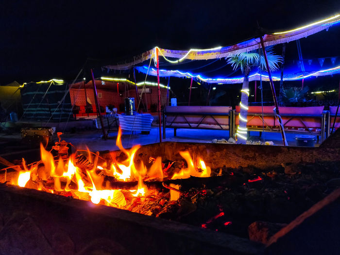 Illuminated fire at night
