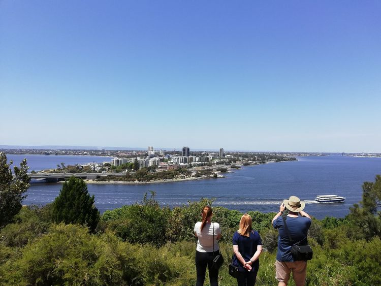 South Perth Water Sea Beach Men Clear Sky Women Togetherness Rear View Sky Horizon Over Water