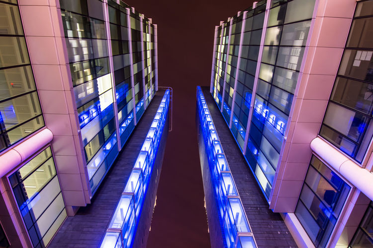 Birmingham office block scene at night, wide angle Architecture Built Structure City Glass - Material Illuminated Modern No People Office Building Exterior Reflection