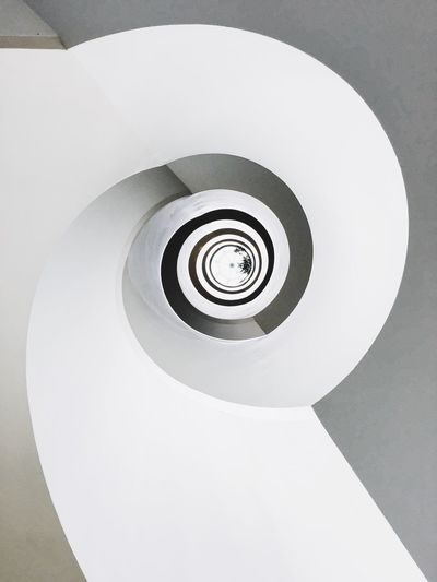 Dramatic Angles Architecture Spiral Simplicity Spiral Staircase Modern Overhead View Directly Below Built Structure Building Story Diminishing Perspective TakeoverContrast