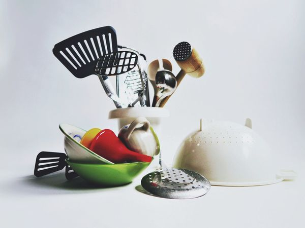 Table Fork Plate No People White Background Indoors  Food Close-up Creativity Stacked Still Life Cooking Equipment Kitchen Kitchen Utensils Kitchen Art Kitchen Life Kitchen Things Kitchenware Kitchen Equipment Creative Bowl Ladle Grater Metal Day Food Stories