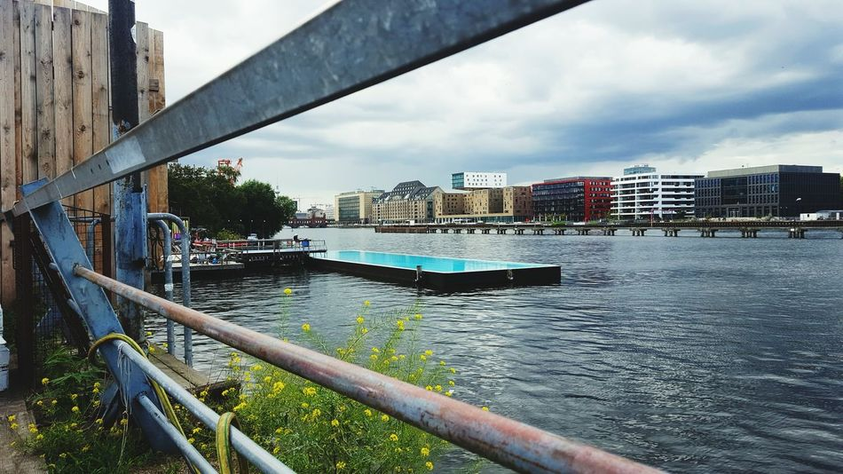 Jeans Brown Photography - Berlin Badeschiff City Outdoors Cloud - Sky Sky Water Swimming Pool Building Exterior Day Architecture No People Skyscraper Pool Spree River Water Bridge - Man Made Structure Bridge Berlin Berlin Photography Berlincity Badeschiff Arena Oberbaumbridge Oberbaumbrücke