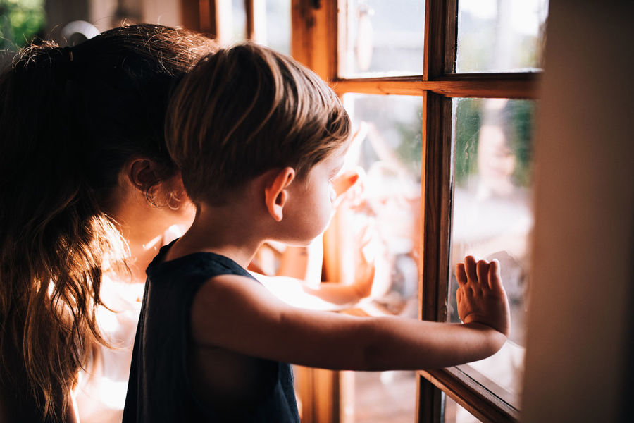 Family Mother Quality Time Relationship Waiting Adorable Child Cute Son Toddler  Togetherness Window