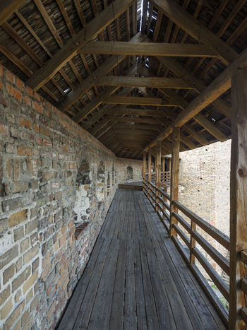wooden gallery medieval fortress in Lubart Castle or Lutsk High Castle Architecture Castle High Lubart Lutsk Architecture Built Structure Day Fortress Gallery Indoors  Medieval No People Wooden