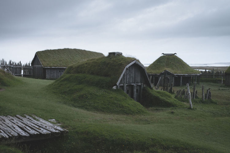 Stokksnes Architecture Building Building Exterior Built Structure Cloud - Sky Day Environment Grass Green Color History House Land Landscape Nature No People Outdoors Plant Scenics - Nature Sky The Past Viking Village