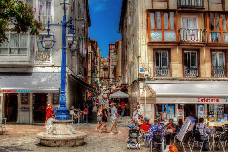 city scene Santander SPAIN Travel Photomatixpro City Architecture Sky Building Exterior Built Structure Cobblestone Large Group Of People Pavement Mixed Age Range Old Town Visiting Town Square