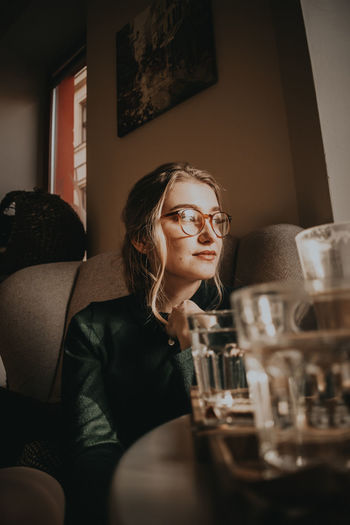 Coffee Fancy Carp Fish Fashion Alcohol Day Drink Drinking Glass Eyeglasses  Glasses Home Interior Indoors  Leisure Activity Lifestyles One Person Real People Sitting Table Wineglass Young Adult Young Women EyeEmNewHere