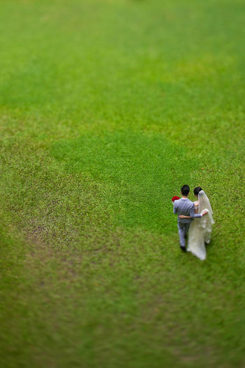 High Angle View Of Newly Wed Couple Walking On Grassy Field