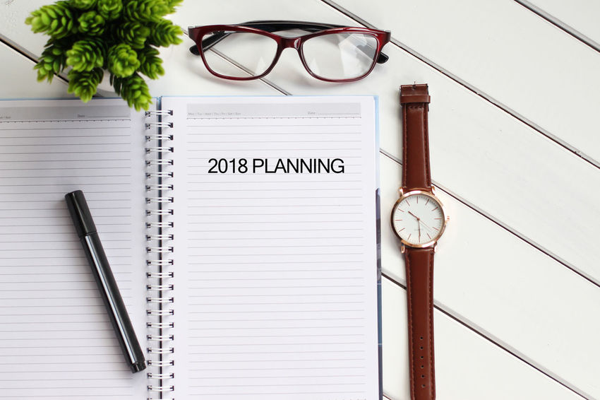 Top view notebook with keyboard and coffee cup writing 2018 Planning Business Achievement Check This Out Motivation New Purpose Career, Challenge Concept Goal Improvmment Job Notebook Notebook Paper Objective Occupation Optimization Potential  Profession Solution Strategy Success Vision