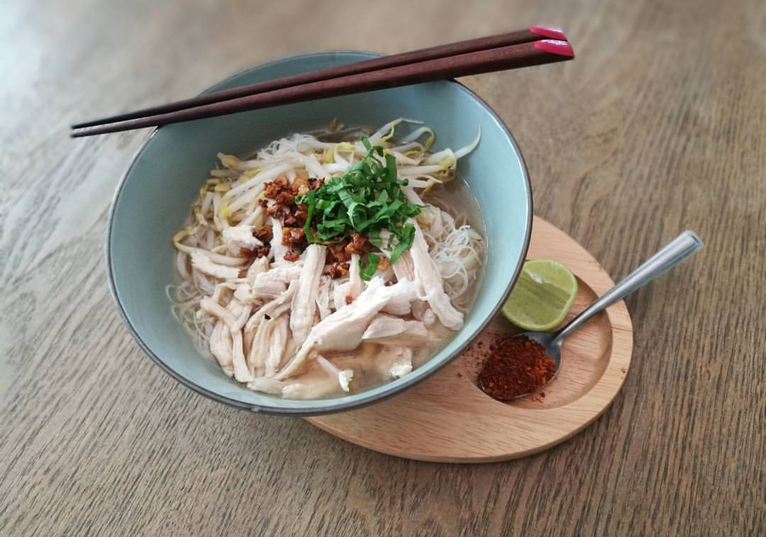 food and drink, bowl, high angle view, table, indoors, freshness, no people, healthy eating, wood - material, food, close-up, chopsticks, ready-to-eat, day, comfort food