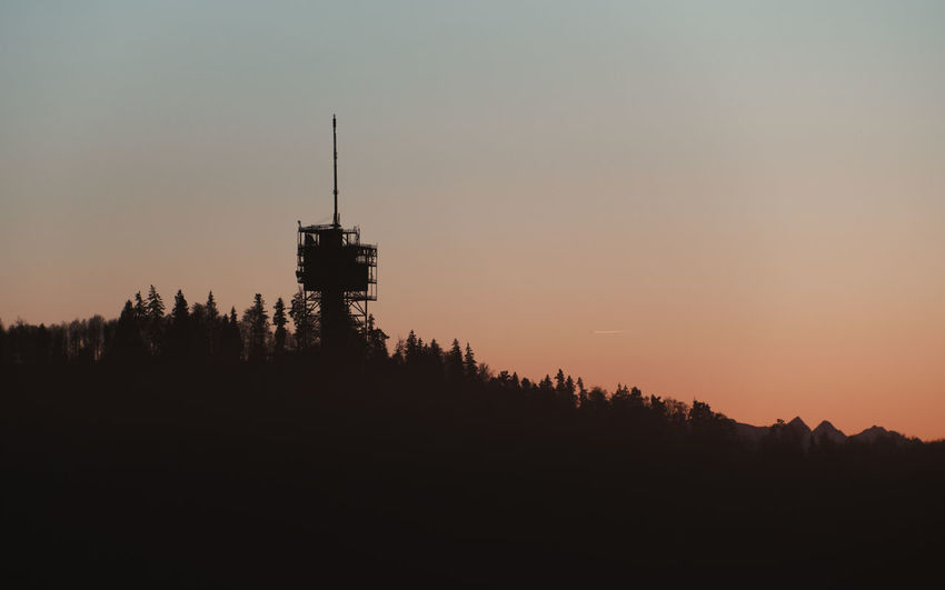 Silhouette Sky Sunset Copy Space Dusk Orange Color Tree Radio Station Transmitting Station Broadcasting Station